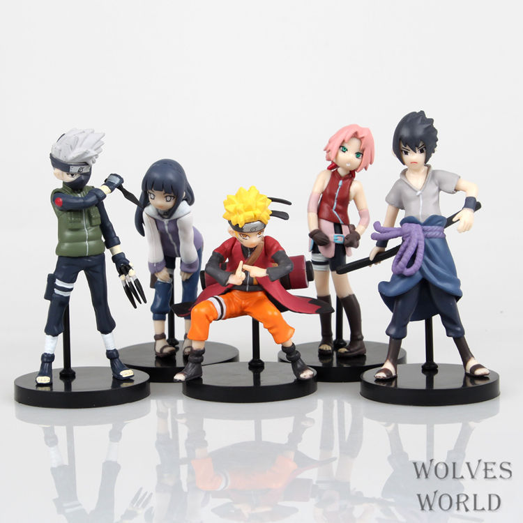 SAINTGI Naruto Action Figure Anime Pvc 10cm Naruto Sasuke Kakashi Hinata Sakura Figure Toys for Kids or Collection 5PCS/1SET naruto sakura kakashi sasuke anime kawaii acrylic keychain pendant