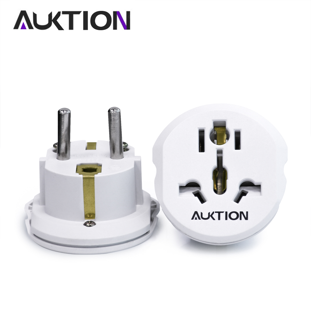 AUKTION 16A Universal European Adapter EU Plugs 250V AC Office Travel Portable Charger Wall Power Plug Socket Converter Adapter