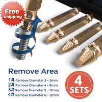 4 Sets HSS Screw Extractor Reverse Screw Removal Tool Drill Kit Drill Power Tool Removal Rail Attachment Damaged Bolt Remover