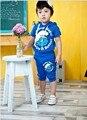 Ребенок и дети комплект одежды лета спортивные костюмы мальчика установить футболки и брюки супер животных устанавливает Детская одежда