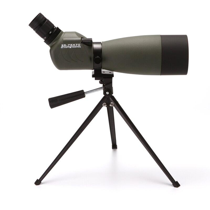 HUANDEE 25-75X70 Zoom Spotting Scope Lente FMC Prisma Bak4 Observação de Aves de Caça À Prova D' Água Telescópio Monocular com Tripé