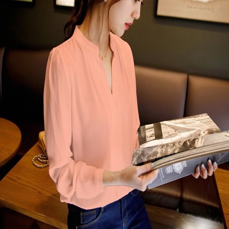 2018 Sell like hot cakes New Casual White Women Blouse Ladies Solid Elegant V-neck Blouses Long Sleeve OL Office Shirt Plus Size