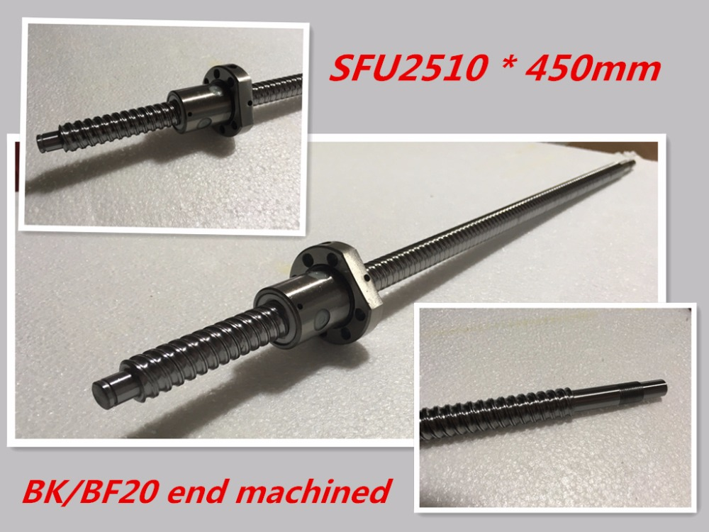 1pc 25mm Ball Screw Rolled C7 ballscrew SFU2510 450mm BK20 BF20 end processing 1pc SFU2510 Ballscrew