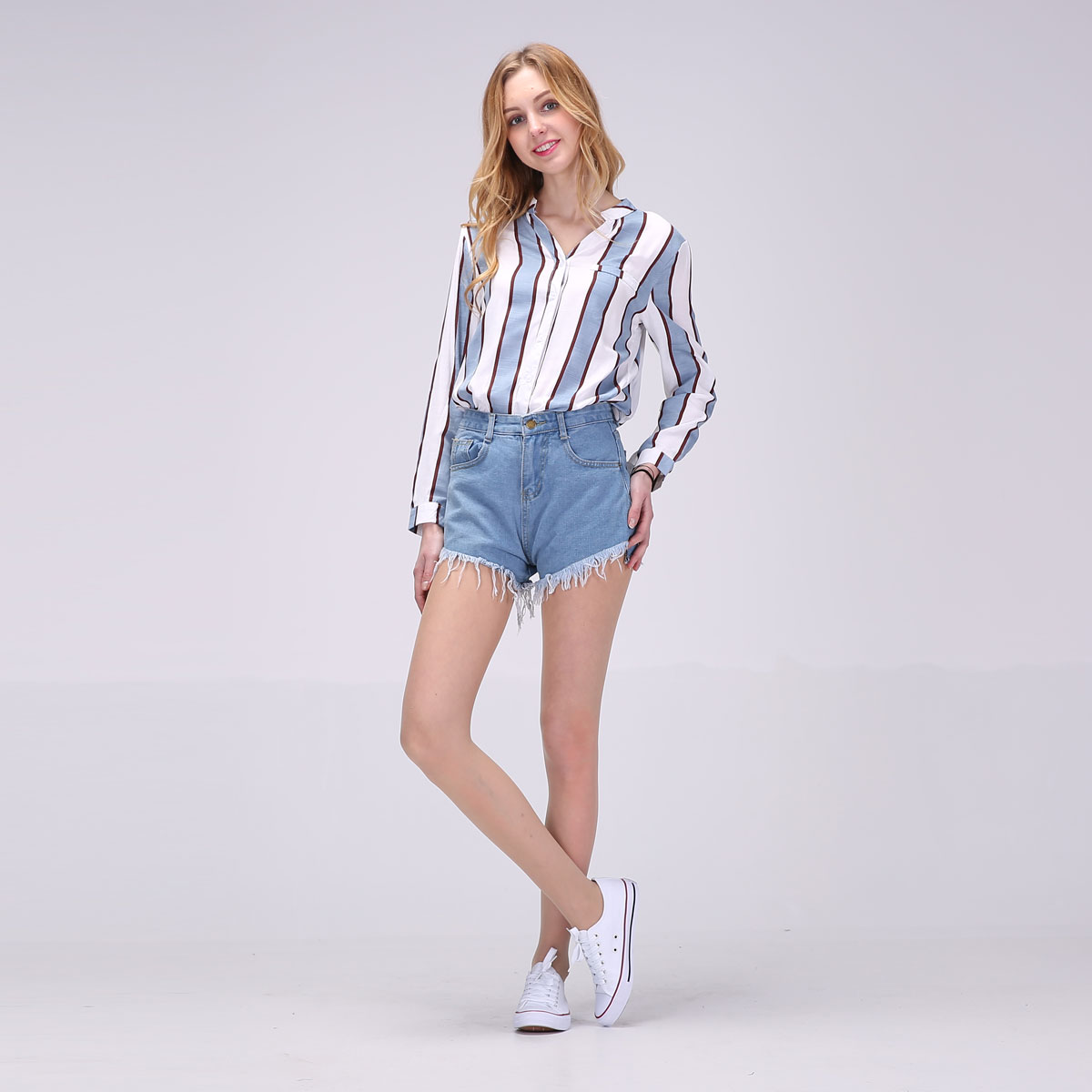 2017 Hot New Women Full Sleeve Blouses Striped Shirts Women Summer Tops Flare Sleeve Blouse Chemise Femme P Size 12