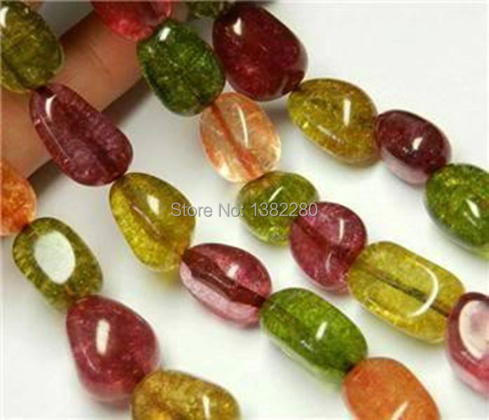 ! Fashion Style diy Irregular 10x16mm Multicolor Tourmaline Jewellery Loose Bead