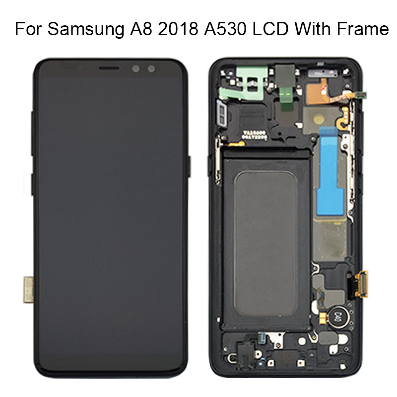 100% New For Samsung Galaxy A8 2018 A530 A530F A530N SM-A530N A530DS LCD Touch Screen Digitizer Assembly For Samsung A530 LCD
