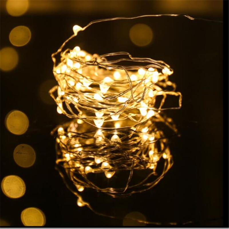 Battery Powered Copper Wire LED String Lights 5M50 LED Starry Rope Light Home Party Christmas Indoor Outdoor Lighting Decoration