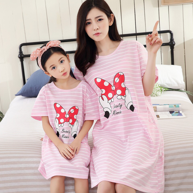 145f1d97bd Mother and Daughter Pajamas Family Matching Pajamas Mom Daughter Pyjamas  Set Matching Dress Cartoon Minnie Mouse Girls Nightwear