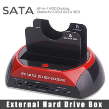 "All In One HDD Docking Station Dual 2.5"" 3.5"" Two SATA External HDD Box USB3.0 Transmission Speed 5GB/s 3.0 Card Reader 70Mb/s"