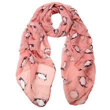 Women Lady Penguin Long Print Shawl Voile Rectangle silk Scarf Scarves foulard twilly High quality from india Drop Shipping