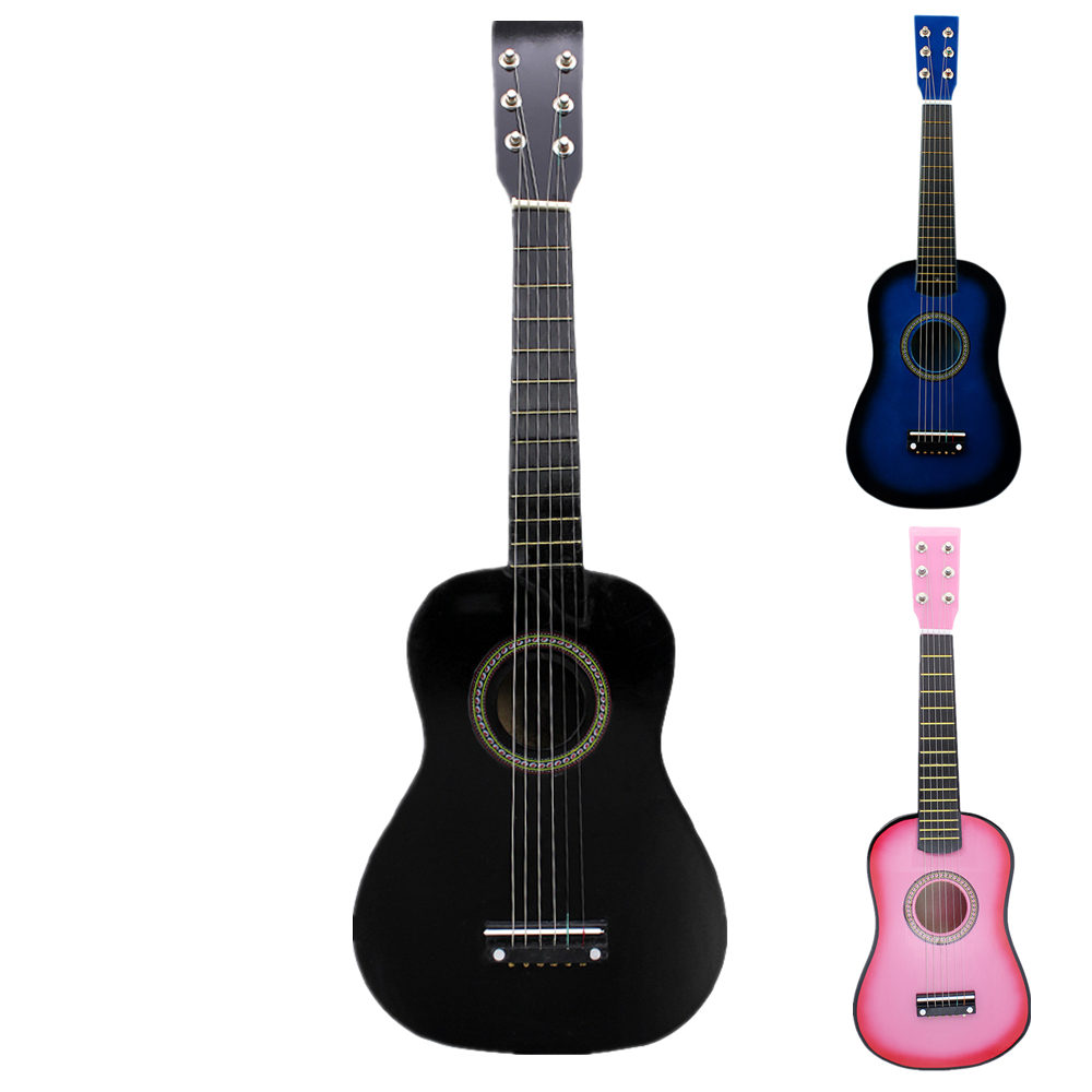 23 inch Black Basswood Acoustic Guitar With Guitar Pick Wire Strings Musical Instruments for Children Kids Gift