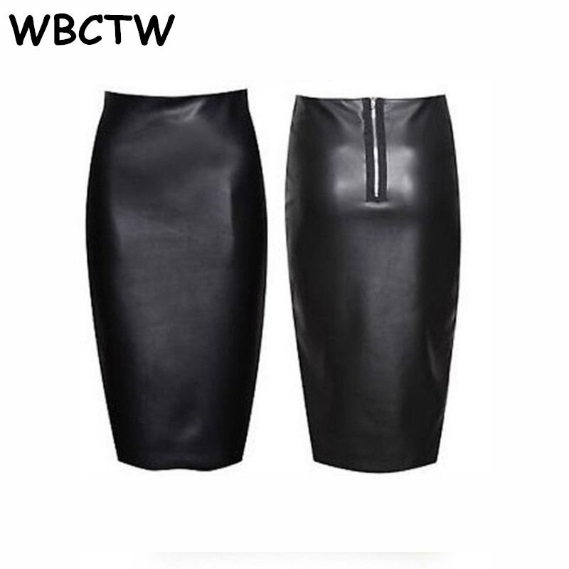 WBCTW Pencil Skirt Solid Black 8XL 9XL 10XL Plus Size Sexy Club Skirts 2018 Spring Summer