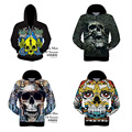 High Quality Hooded T-shirt Teen Boy Special Design Vivid 3D Skull Print Hip-Hop Hood Baseball Wear 15-20 years old