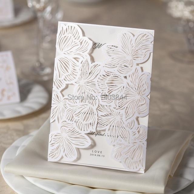 Elegant Wedding Invitation Card With Laser Cut Leaves Lined Envelope Wm206