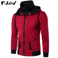 T Bird Hoodie Men Cardigan Sweatshirt Hip Hop Mens 2017 Brand Fake Two Pieces Hoodies Winter