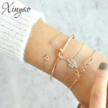 XINYAO 4Pcs/lot Crystal Triangle Love Cactus Knot Charm Bracelets For Women Gold Cuff Bangles Set Boho Indian Jewelry