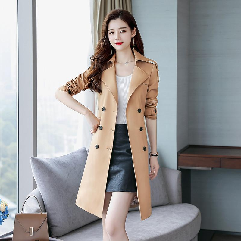 2019 Spring Autumn Women Casual Solid Slim Lapel Double Breasted Mid-Long Trench Coat With Belt Female Elegant Windbreaker R130