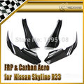 New Car Styling For Nissan Skyline R33 GTR Real Carbon Fiber Auto Select OEM Front Bumper Canard 4pcs