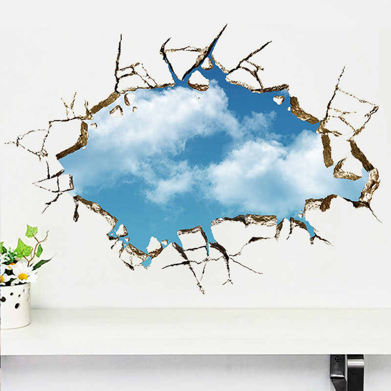 Broken Hole 3D Blue sky Cloud wall stickers Living rooms Bedroom decoration decals landscape False windows home decor stickers
