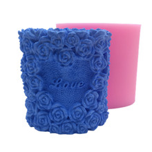 Free shipping 3D rose cylinder heart shaped  handmade silicone candle mould ,3D mold