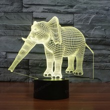 New elephant 1 3D light colorful touch LED Visual lights gift decorative lamp For party