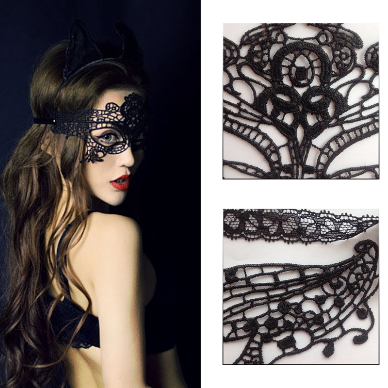 dbbc2f73dbf38 Black Lace Eye Mask For Women Masquerade Ball Halloween Cosplay Party Masks  Girl Gothic Hollow Fancy Costume Accessories-in Costume Accessories from  Novelty ...