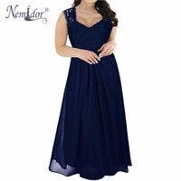 Nemidor High Quality Women V Neck Chiffon Lace Patchwork Party Dress Plus Size 7XL 8XL 9XL
