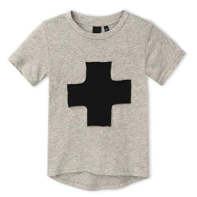 2017 Brand New Premium 100% Хлопок повторяющийся Джерси крест печатных Короткий Рукав мальчика футболка для Детей. эксклюзивные 3 цветов