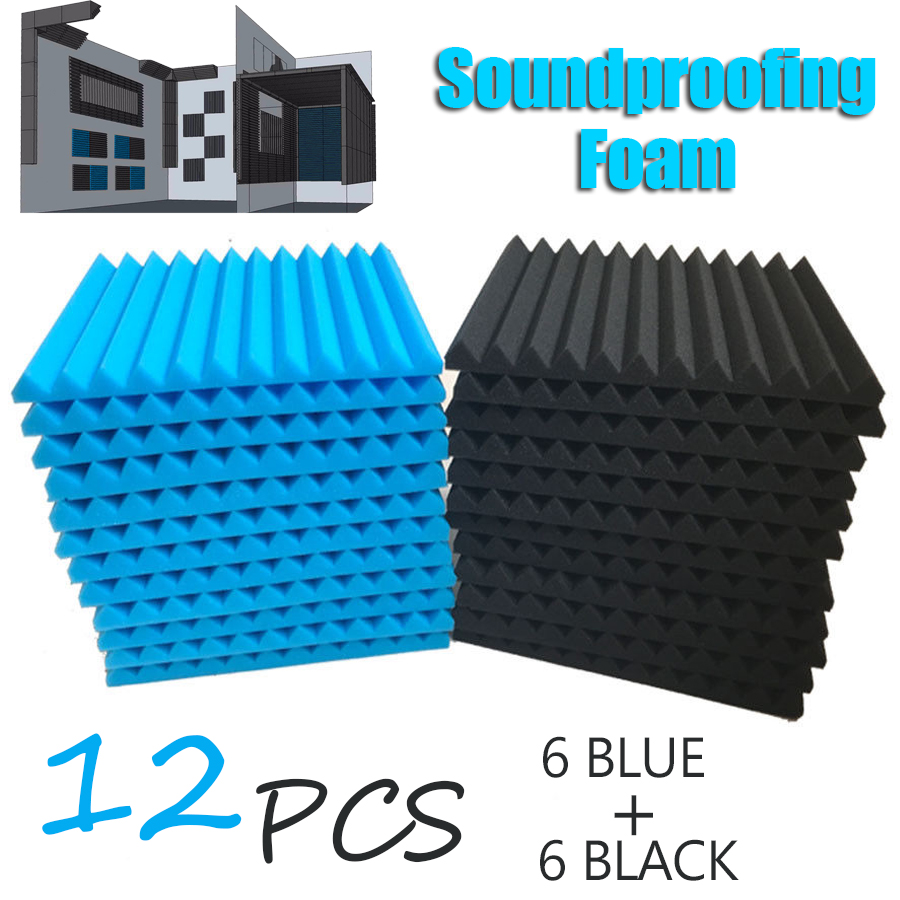 12Pcs Soundproofing Foam Acoustic Foam Panels Sound Treatment Studio Room Absorption Wall Wedge Tiles Noise Sponge Foam Speaker