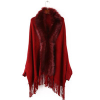 New Winter Women Cashmere Pashmina Poncho Capes Shawl Sweater Coat with Sleeve manteau femme hiver