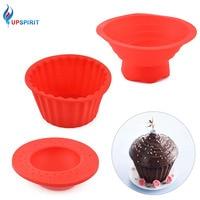 Upspirit 3ピース/セットシリコーンカップケーキ金型で蓋丸型熱resisitantケーキベーキング金型用誕生日パーティーフェスティバル
