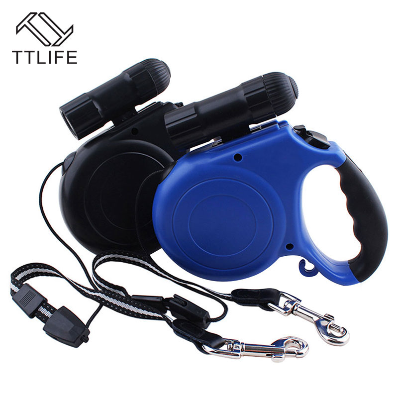 TTLIFE ABS Material 5M Automatic Retractable with LED Night Safety Dog Pet Traction Rope Chain Harness for Puppy Dog Accessories