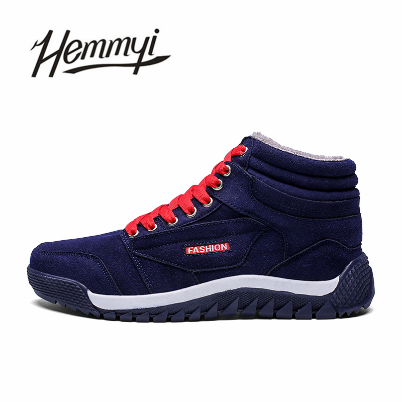 Hemmyi 2018 Waterproof Flock Men Boots Keep Warm Plush Winter Shoes Outdoor Non-slip Ankle Boots Male Adult Casual Snow Boots