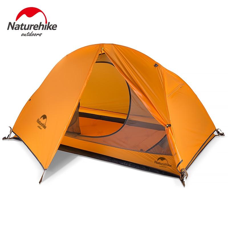 Naturehike 20D Silikon Camping Zelt Tragbare Ultraleicht 1 Mann Zelt Wasserdichte Outdoor-Camping Radfahren Zelt Mit Matte NH18A095-D