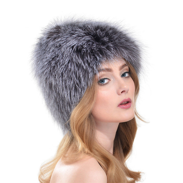 Autumn and Winter 2016 New Women Silver Fox Fur Warm Leather Hat Fashion Popular Ear Cap Hats Outdoors Moshino LH297