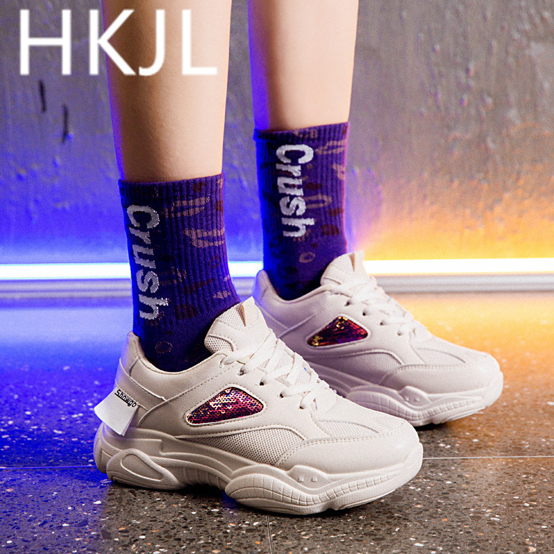 HKJL Korean edition sneaker women 2019 new thick bottom small white shoes round head breathable lace up casual shoes A540 in Women 39 s Vulcanize Shoes from Shoes