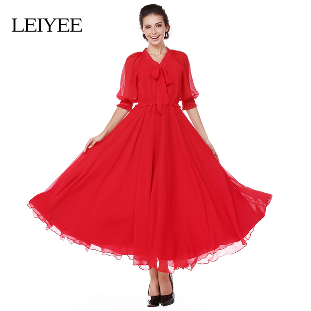 615e984e7 LEIYEE Vintage Party Maxi Dress V-neck Bowknot Puff Sleeve Red Chiffon  Elegant Swing Long Autumn Dresses Women 2017 vestidos