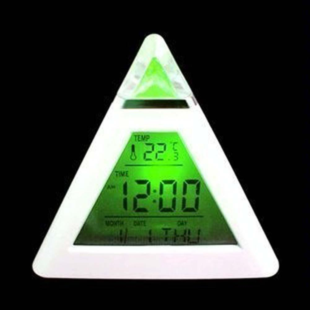 LED Changing Color Pyramid Digital LCD Snooze Alarm Clock Triangle Thermometer C/F A609 APJ