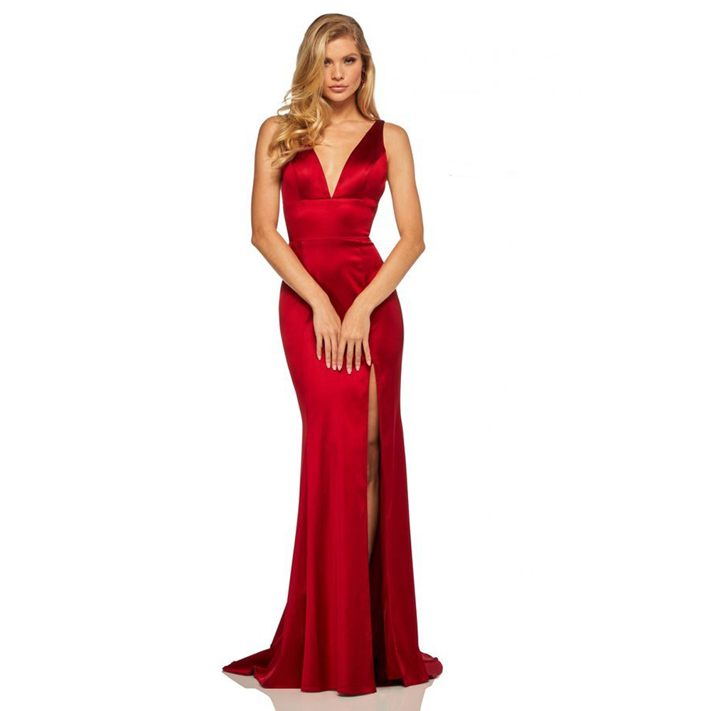 Deep V Neck Cut Of Burgundy Satin Party Dress Open Back Floor Legth Sleeveless Maxi Dress Stretchy Mermaid Dress