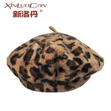 Elegant Leopard Warm Wool Spring Autumn Winter Beret Women French Artist Beanie Hat for WH094