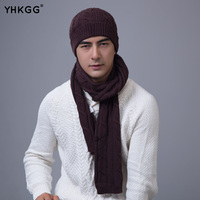 YHKGG 2017 Winter Warm Knitted Man Hat And Scarf Hemp Pattern Casual Hat Scarf Set
