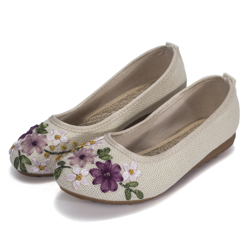 MYLEY Women Vintage Embroidered Flower Shoes Slip On Cotton Fabric Linen Flats Single Shoes Shallow Peas Sapato Feminino vintage embroidery women flats chinese floral canvas embroidered shoes national old beijing cloth single dance soft flats