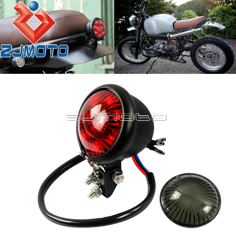 Red Motorcycle LED Scrambler Brake Tail Light Turn Signal For Bobber Cafe Racer