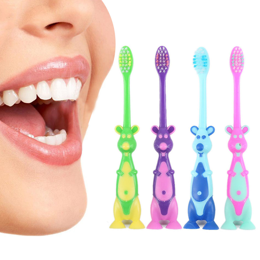 Cartoon Dinosaur Shape Children Kids Toothbrush Safe Health Children's Tooth Brush Suction With Stand Oral Care Tool