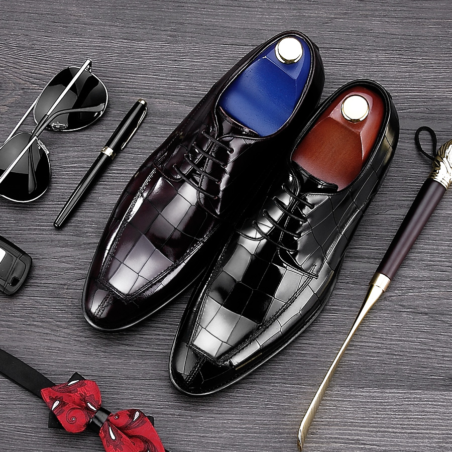 Fashion Italian Style Pointed Toe Man Formal Dress Shoes Genuine Leather Handmade Party Oxfords Men's Derby Wedding Flats NE43 men s pu leather wedding flats new british men shoes fashion man pointed toe formal wedding shoes male dress shoes