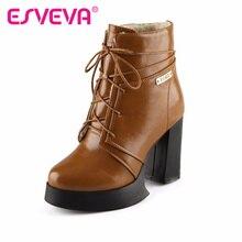 ESVEVAรองเท้าข้อเท้ารองเท้าส้นสูงแฟชั่นฤดูหนาวเซ็กซี่ลูกไม้ขึ้นผู้หญิงบูต