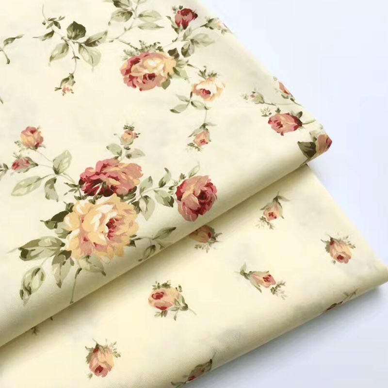 100% algodão sarja tecido pastoral bege rosa flor impresso para diy berço roupa de cama retalhos artesanato quilting handwork decoração