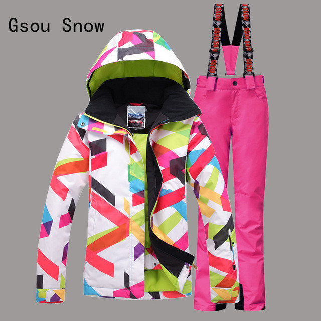 Gsou Snow Band Windproof Waterproof Women Ski Suit Outdoor Sport Wear Camping Riding Skiing Snowboard Super Warm Jacket+Pant Set
