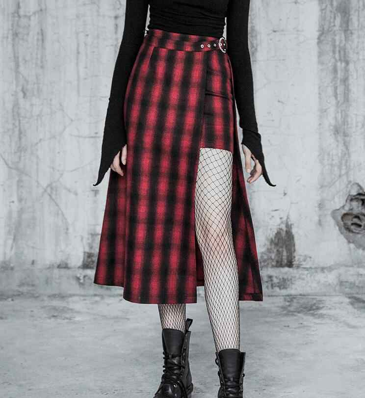 82a616d99015 2019 New Arrival Autumn Winter Punk Gothic Harajuku Vintage Red Plaid Skirt  Fashion Loose Quality Female