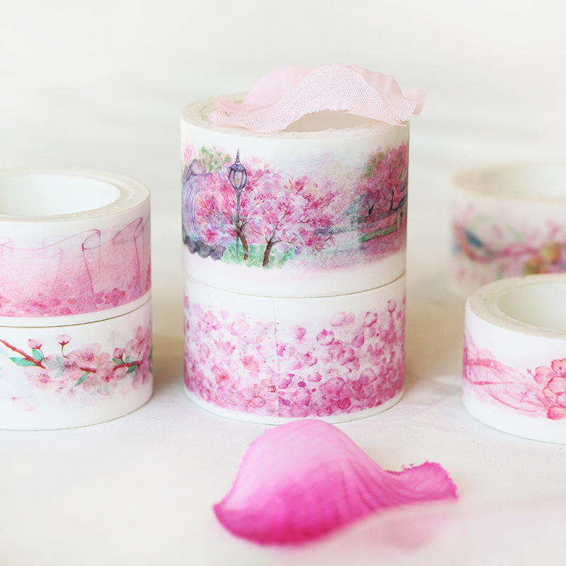 Adroit Romantic Watercolor Cherry Blossom Sakura Show Paper Decorative Washi Tape Diy Scrapbooking Masking Tape School Office Supply